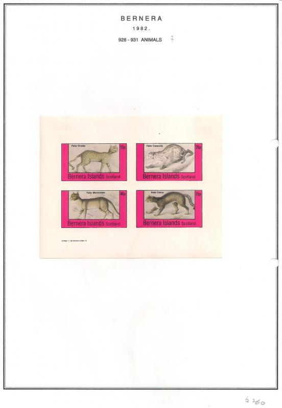 SCOTLAND - BERNERA - 1982 - Animals (7) - 4v Imperf Sheet - MLH