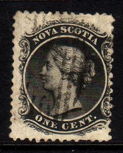 Nova Scotia Sc 8  1860 1c Victoria  stamp used