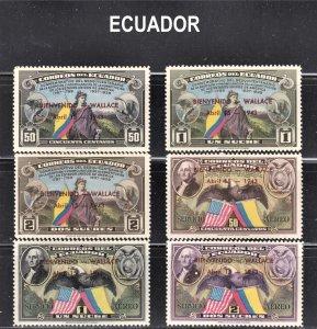 Ecuador Scott 413-15, C102-04 complete set F to VF mint OG H, HR or HHR.