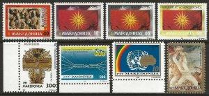 Macedonia 1992, 1993 First issues Selection #2, 5-7, 12-15 VF-NH CV $14.70