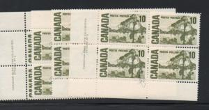 Canada Sc 462 1967 8 10c Jackpine matched set of 4 Plate Blocks #2 mint NH