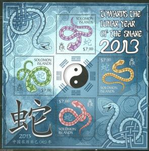 SOLOMON ISLANDS 2013  LUNAR NEW YEAR OF THE SNAKE  SHEET  MINT NH