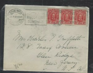 SOUTHERN RHODESIA  COVER  (P1002BB)  KGV 1937 1 D  STRIP OF 3 COVER TO USA