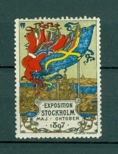 Sweden Poster Stamp MNH 1897. Exposition Stockholm 1897. Scandinavia Flags.