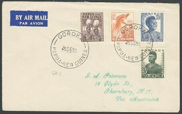 PAPUA NEW GUINEA 1958 cover ex GOROKA to Australia..........................G871