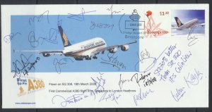Aviation – Singapore Airlines FFC Inaugural A380  SIN - LHR 2008 see scans