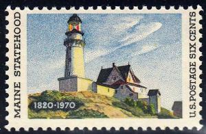 U.S. #1391 Maine Statehood, Lighthouse. MNH