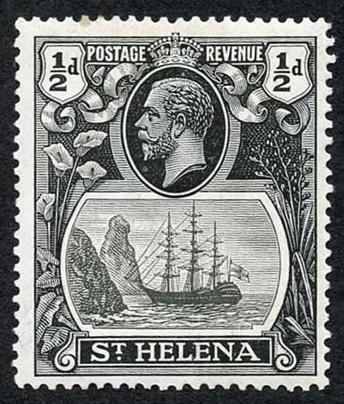 St Helena SG97g 1/2d Grey-black and Black U/M (Brown Gum)