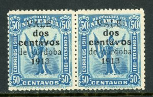 Nicaragua 1913 Liberty Gold Currency 2¢/50¢ Blue Variety Sc 322 VFU W875