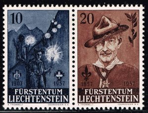 Liechtenstein Stamp 1957 The 50th Anniversary of Scouting Movement MH/OG STAMPS