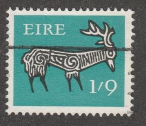 Ireland, stamp, Scott# 262, used, stag art work from ancient works, #M023