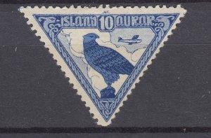 J29759, 1930 iceland mh #c3 bird falcon, 2 scans