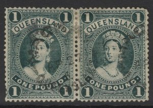 QUEENSLAND SG274 1906 £1 DEEP GREEN USED PAIR