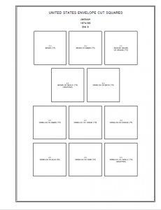 U.S.A. ENVELOPE CUT SQUARES STAMP ALBUM PAGES 1853-1974 (111 PDF digital pages)