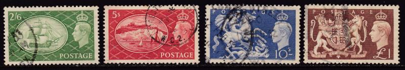 Great Britain 1951 King George VI set (4) of High Value Stamps/  F/VF/Used(o)