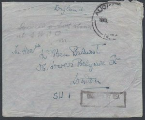 NEW ZEALAND CYGNUS CRASH COVER to London 1937 ex Auckland...................K609