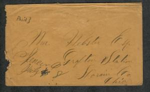 US Stampless Cover Spencer Ohio Unlisted Paid 3 M/S