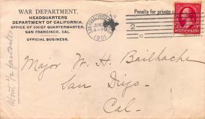 U.S., 2c Washington Used on War Department, California, 1901 Penalty Cover