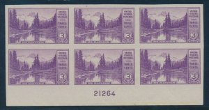 #758 VAR 3c MT RAINIER BOTTOM PLATE BLOCK XF OG NH GEM BV162