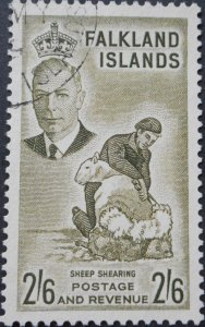 Falkland Islands 1952 GVI 2/6 SG 182 used