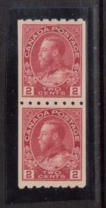Canada #124 XF Mint Coil Pair