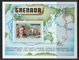 Grenada #899* NH  CV $5.00 Captain James Cook Souvenir sheet