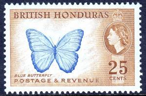 British Honduras - Scott #151 - Blue butterfly - MH - SCV $7.00