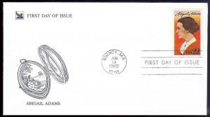 UNITED STATES FDC 22¢ Abigail Adams 1985 Readers Digest