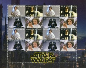 Congo 2017 Star Wars Princess Leia Darth Vader 4vx4 Mint Full Sheet. (L-10)