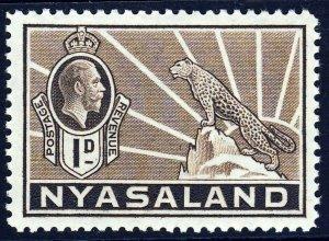 NYASALAND KG V 1934 1d. Brown Leopard on Rock SG 115 MINT
