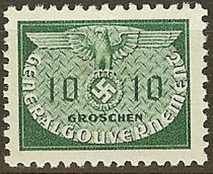Stamp Germany Poland General Gov't Official Mi 18 Sc NO18 1940 WW2 War Era MH