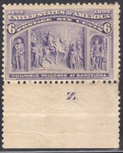 US Stamp Scott #235 Bottom Imprint Tab Mint Previously Hinged SCV $50