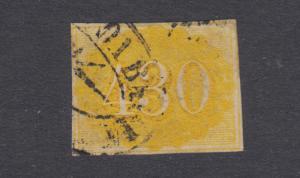 Brazil Sc 40 used. 1861 430r yellow definitive, 4 margins, black cancel, sound