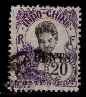 French Indo-China Scott 71 surcharged Cambodian Girl stamp