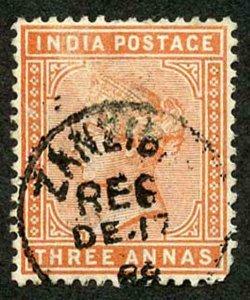 Zanzibar SGZ86 1882-90 India 3a Orange 17 Dec 88 with CDS (type Z6) Used