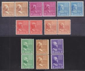 US Sc 840/851 MNH. 1939 Prexie Joint Line Coil Pairs, 8 different