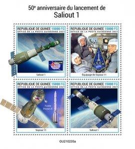 GUINEA - 2021 - Salyut-1 - Perf 4v Sheet - Mint Never Hinged