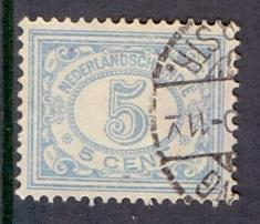 Netherlands Indies 1912  used 114   numbers  5 ct light blue  #