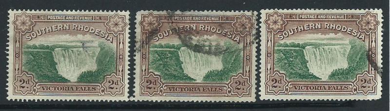 Southern Rhodesia SG 35a Fine used 3 copies colour shades