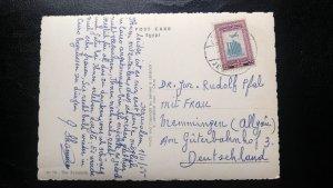 """RARE PALESTINE TO GERMANY 1955 """"PYRAMIDS OF GIZA"""" JERUSALEM CANCEL VINTAGE POST"""
