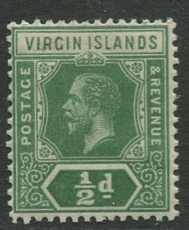 Virgin Is.- Scott 38 - KGV Definitive -1913 - MVLH -Wmk 3 - Single 1/2p Stamp