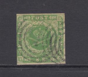 Denmark Sc 5 used 1857 8s Coat of Arms, 1 in Target Cancel of Kjobenhavn