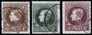 Belgium Scott 212-214 (1929) Used H VF, CV $46.50