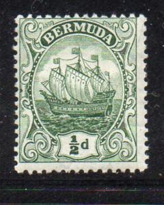 Bermuda Sc 41a 1918 1/2d dark green Caravel stamp mint