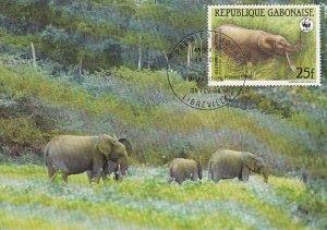 Gabon 1988 Maxicard Sc #634 25fr African forest elephant WWF