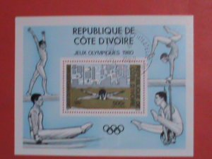 IVORY COAST  STAMP: 1980  OLYMPIC GAMES:   CTO S/S SHEET WITH FIRST DAY OF ISSUE
