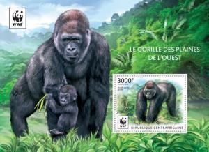 CENTRAFRICAINE 2015 SHEET WWF GORILLAS GORILLE PLAINES OUEST PRIMATES WILDLIFE