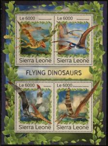 SIERRA  LEONE 2016 FLYING DINOSAURS  SHEET  MINT NH