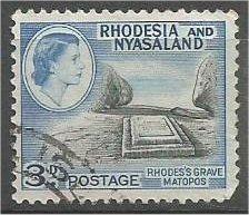 RHODESIA & NYASALAND, 1959, used 3p, Rhodes' Grave, Scott 162