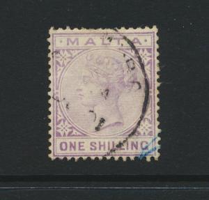 MALTA 1890, 1sh WMK CA, VF USED SG#29 (SEE BELOW)